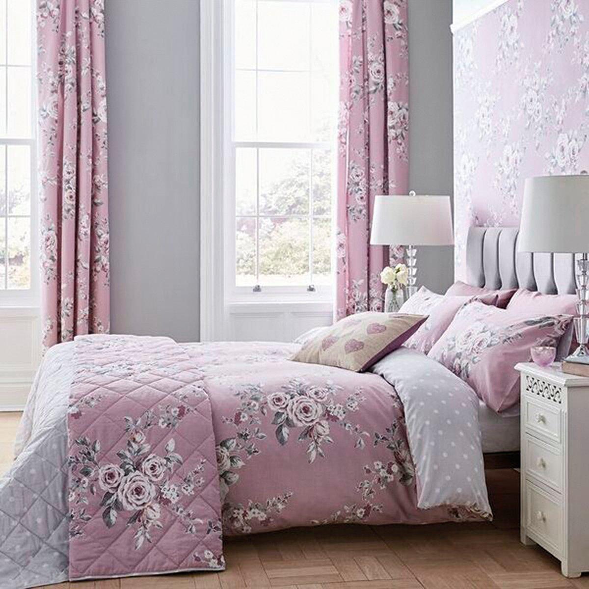 Canterbury Floral and Polka Dot Lined Eyelet Curtains