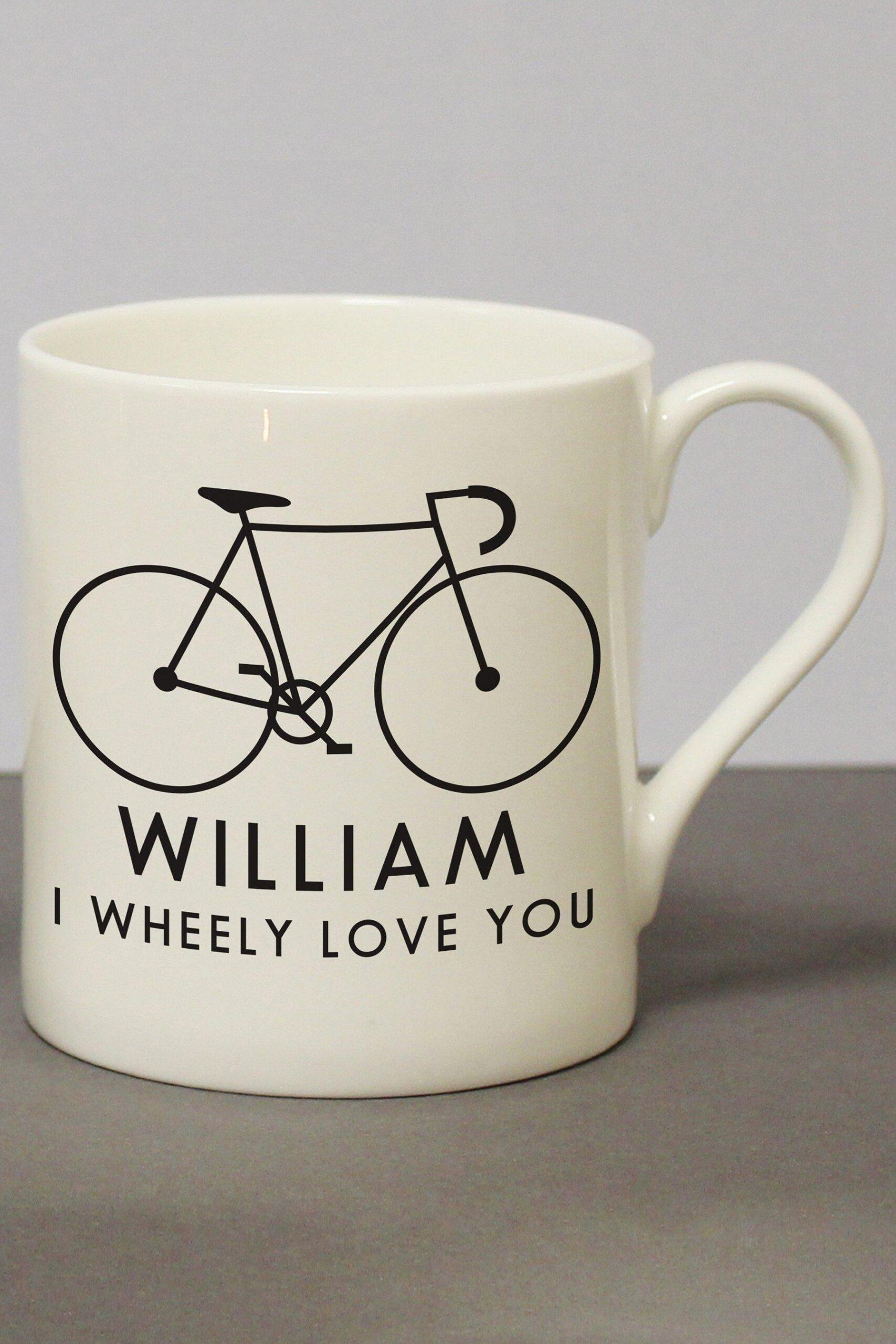 Personalised I Wheeley Love You Male Bike Chunky Balmoral Mug
