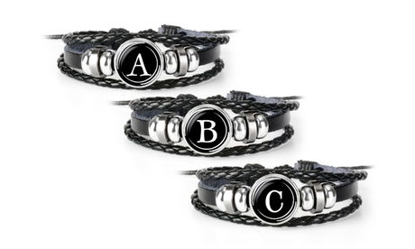 Multi-Woven Braided Faux Leather Initial Letter Disc Bracelet