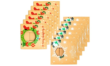Pack of 12 Christmas Kraft Gift Boxes with Clear Window