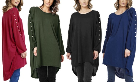 Oversized Top with Pearl Arms
